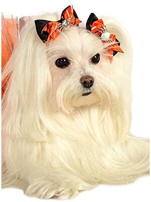 Halloween Black Orange Spider Hair Bows Pet Dog Costume Accessory