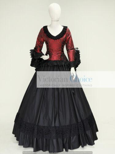 Victorian Gothic Brocade Steampunk Gown Dress Comic Con Theater Costume C001