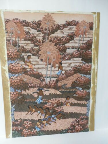 "VINTAGE BALINESE ORIGINAL PAINTING ON FABRIC ATTACHED ON BOARD 23 5/8""X 18"""