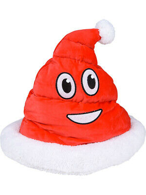 Plush Santa Hat (Christmas Red Poop Emoji Emoticon Plush Santa Hat Costume)