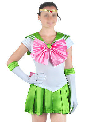 Sailor Moon Anime Sailor Jupiter Schulmädchen Cosplay Kostüm Costume Grün Damen
