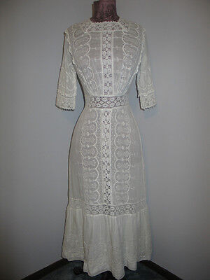 ORNATE Antique Edwardian Day / Tea Dress~Hand Made Bobbin Lace & Embroidery