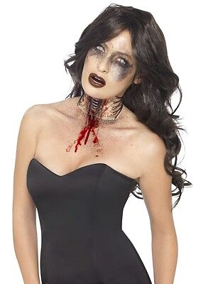 Halloween Zombie Exposed Throat Wound Scar Prosthetic Make Up Horror Fancy - Halloween Exposed