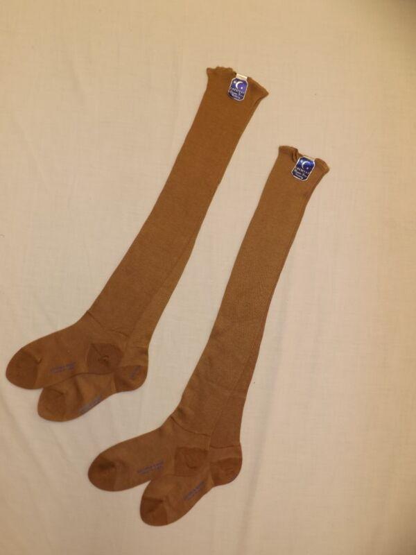 Vtg 1930s NEW 2 Pr Crescent Brown Cotton Rayon Knee Hi Hosiery Socks Misses XS/S