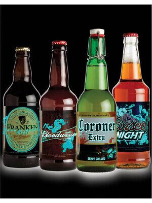 Halloween Themed Beer (Set of 12 Halloween Themed Slapsticker Glow In The Dark Beer Bottle)