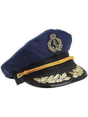 Deluxe Blue Yacht Captain Nautical Sailor Hat Navy Cap