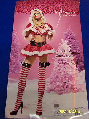 3 pc. Candy Cane Santa Claus Christmas Fancy Dress Halloween Sexy Adult Costume