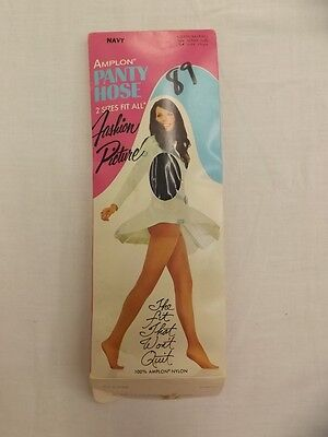 Vtg 60s 70s Fashion Picture Navy Blue Amplon Nylon Pantyhose Medium/Tall NEW NOS