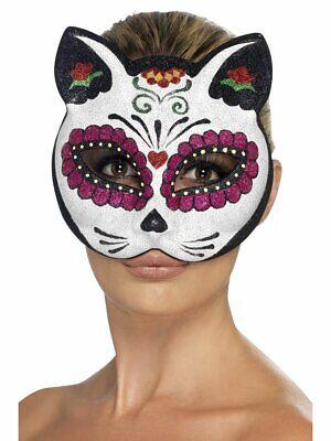 Smiffys Sugar Skull Cat Glitter Eyemask Adult Halloween Costume Accessory 45219](Smiffys Halloween Cat)