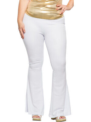 Women's White 70s Flared Boogie Disco Pants Costume 1X Plus Size16](Plus Size Disco Costume)