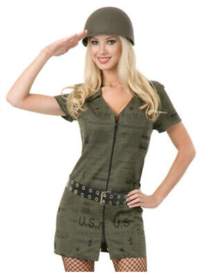 Womens Sexy Green Double Zip GI Dress Army Soldier Costume (Woman Soldier Costume)