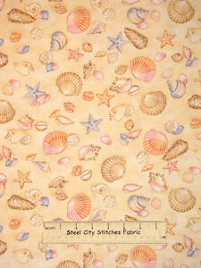 Timeless Treasures Sea Shell Toss Beach Sand Ocean Starfish Cotton Fabric YARD