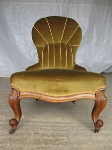 Victorian-Walnut-button-and-rope-upholstered-spoon-back-nursing-chair-ref-321