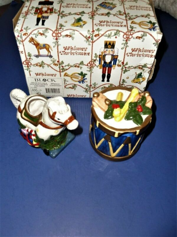BLOCK SPAL WHIMSY CHRISTMAS NUTCRACKER PITCHER & SUGAR BOWL PONY & DRUM