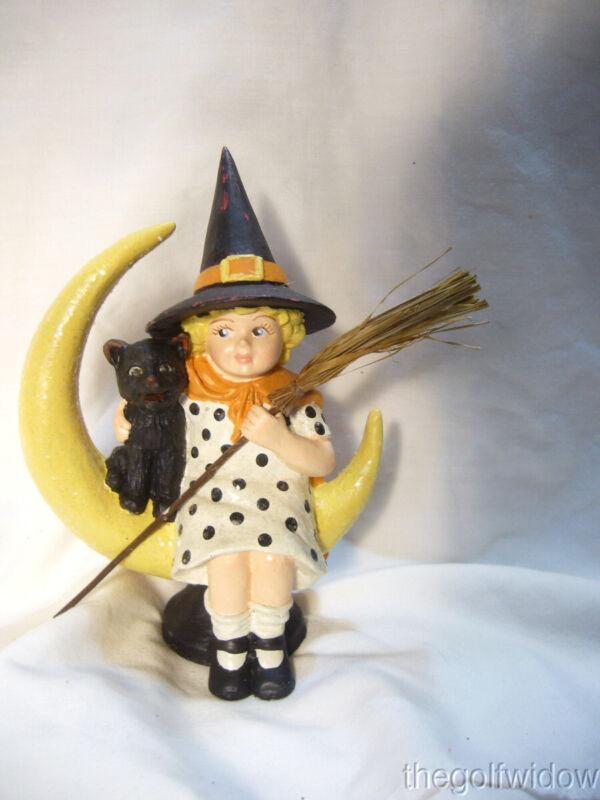 Bethany Lowe Midnight Moon, Halloween Witch Black Cat on a Moon