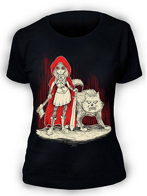 Afterlight Rotkäppchen T-Shirt Damen Gothic Punk Rock Emo Wolf ()