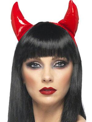 Rot PVC Teufelshörner auf Haarreifen Damen Halloween Kostüm Zubehör ()