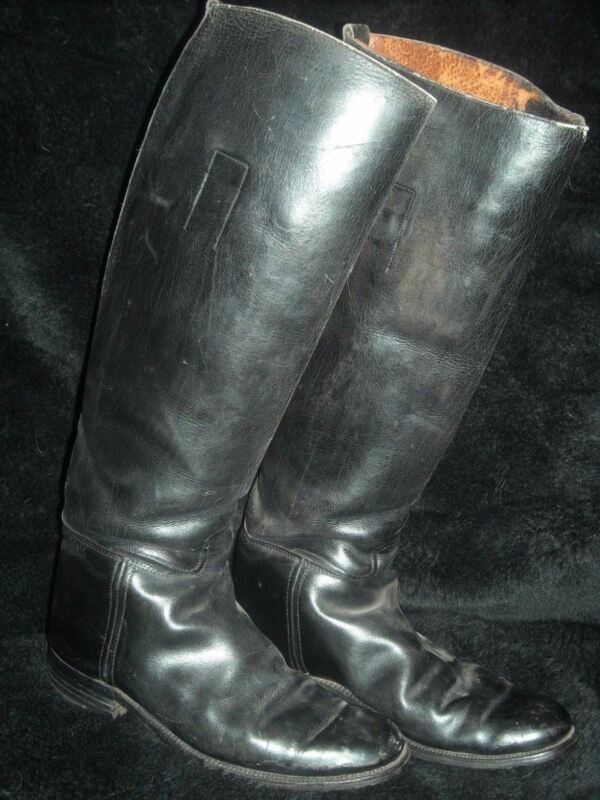 VTG WOMENS 5.5 TALL BLACK BUNTING LEATHER EQUESTRIAN HORSE RIDING DRESS BOOTS