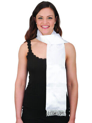 Adults Mens Womens White Satin Aviator Scarf Costume Accessory
