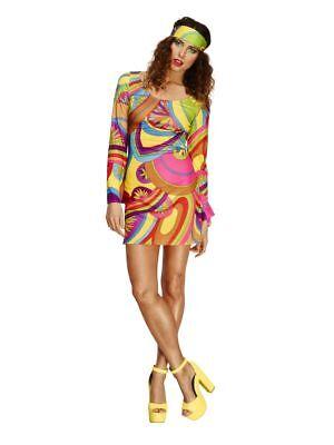 Women's 70's Flower Power Woodstock Fancy Dress Costume Hippy Festival Fun - Woodstock Festival Kostüm