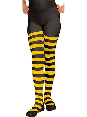 Yellow and Black Striped Bumble Bee Ballerina Costume Girls Tights Large - Bumble Bee Tights