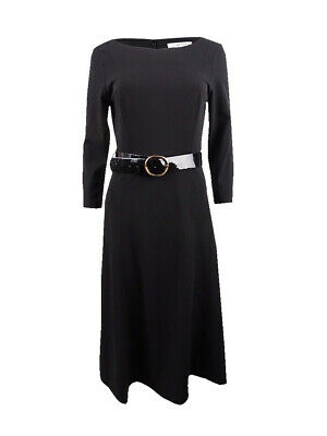 Calvin Klein Women's Belted Midi A-Line Dress (4, Black)