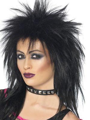 Black Rock Diva Perücke Damen 80er Jahre Kostüm Zubehör 1980er Punk