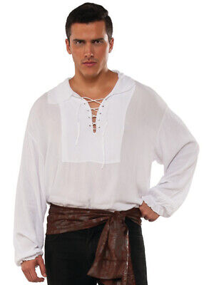 Pirate Men (Men's Swashbuckler White Cuffed Lace Up Pirate Shirt)