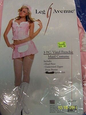 3 pc. Vinyl Frenchie Maid Pink French Leg Avenue Halloween Sexy Adult Costume](Pink Ladies Frenchie Costume)