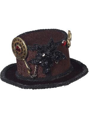 Womens Sexy Beauty Steampunk Black Mini Top Hat With - Black Mini Top Hat