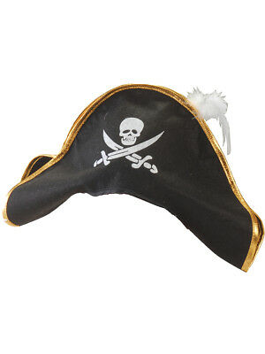 Adult Costume Black Pirate Hat with Gold Trim And White Feather - Pirates Hats