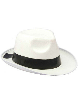 New White And Black Felt Gangster Costume Fedora Hat (White Felt Fedora)