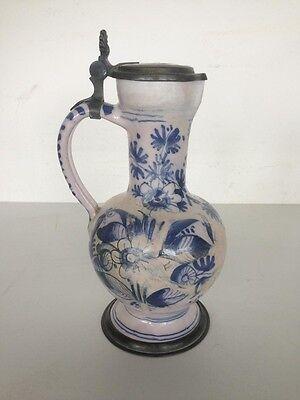 Enghalskanne Hanau um 1730 floraler Blaudekor restauriert H 24 cm
