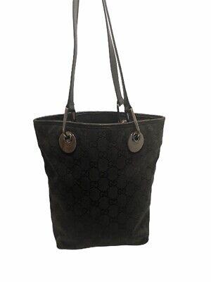 Gucci Vtg  mini tote bag shoulder GG canvas × leather shoulder Black Silver