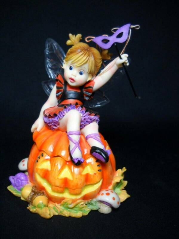 "Rare Enesco Little Kitchen Fairie ""Scary Fairie Pumpkin"" Trinket Box #4018041"
