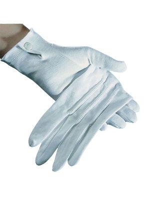 Paar Handschuhe Kurz mit Knopf Weiß Accessoires Kostüm
