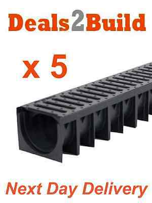 5 x Drain Channel Drainage Plastic PVC Drives 1m Long NEXT DAY DELIVERY