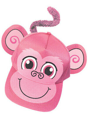 Adults Kids Adjustable Pink Monkey Animal Zoo Baseball Cap Hat Costume Accessory (Pink Monkey Costume)