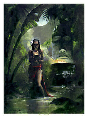 THE TIKI GODDESS! South Sea Mike Hoffman Art Print SIGNED!