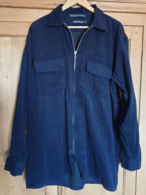 Nautica shirt, long sleeve full zip blue men's Large L fleece material 2 pockets