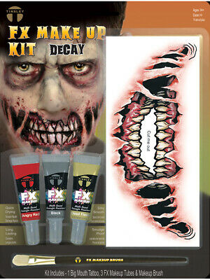 Decayed Big Mouth Undead Walker Zombie Makeup And Tattoo Kit Costume Accessory