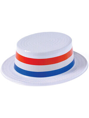 Skimmer Hats (American Patriotic USA Blue White Red Plastic Skimmer Party)