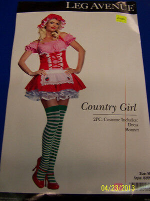 2 pc. Country Girl Strawberry Shortcake Dress Up Halloween Sexy Adult Costume