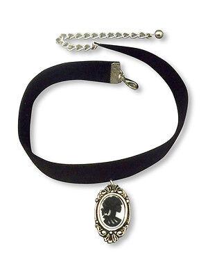 (Velvet Choker with Gothic Lolita Cameo Black on White Vampire Jewelry CH-1024)