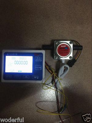 """3/8"""" Flow Control LCD Display Oil Fuel Gasoline Diesel Milk Water Gear Sensor"""