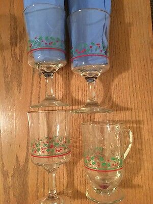 4 Libbey Rock (4)  VINTAGE LIBBEY ROCK SHARPE CHRISTMAS HOLLY / BERRY GLASSES --*ARBY'S*   EUC)