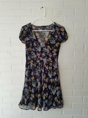 trafaluc zara blue lavender floral v neck dress chiffont Short Sleeve BOHO Black