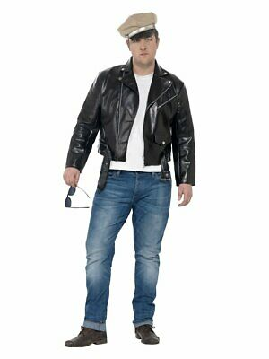 Mens Greaser Jacket 50s Punk Grease Faux Leather Jacket Black Halloween Adult L