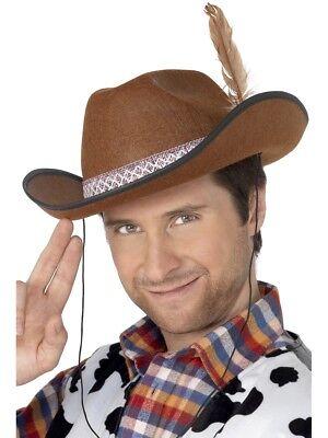 Braun Dallas Cowboy Hut Herren Cowboys Wilder Westen Kostüm - Dallas Cowboy Kostüm