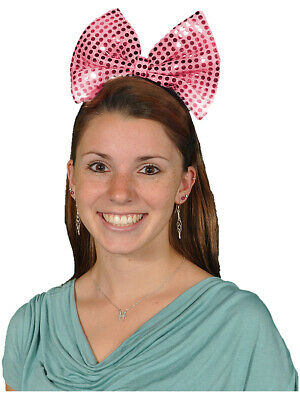 - Big Pink Bowtie Sequin Light Up Flashing Bow Headband Costume Accessory